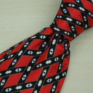 Stefano Ricci Cherry Red Black Hatched Paisley tie